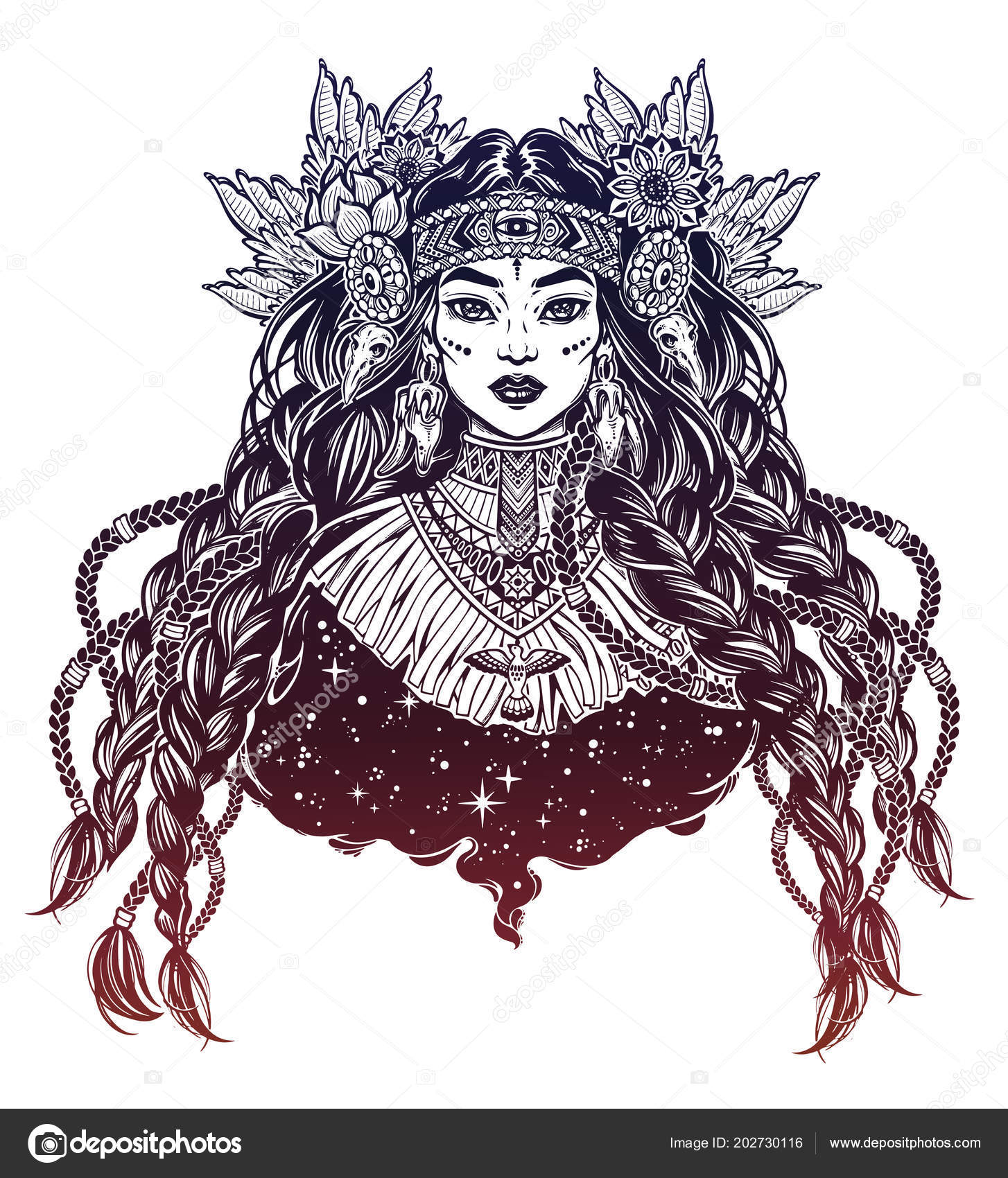 Beautiful native american indian woman ethnic tribal shaman girl wearing traditional collar stock illustration