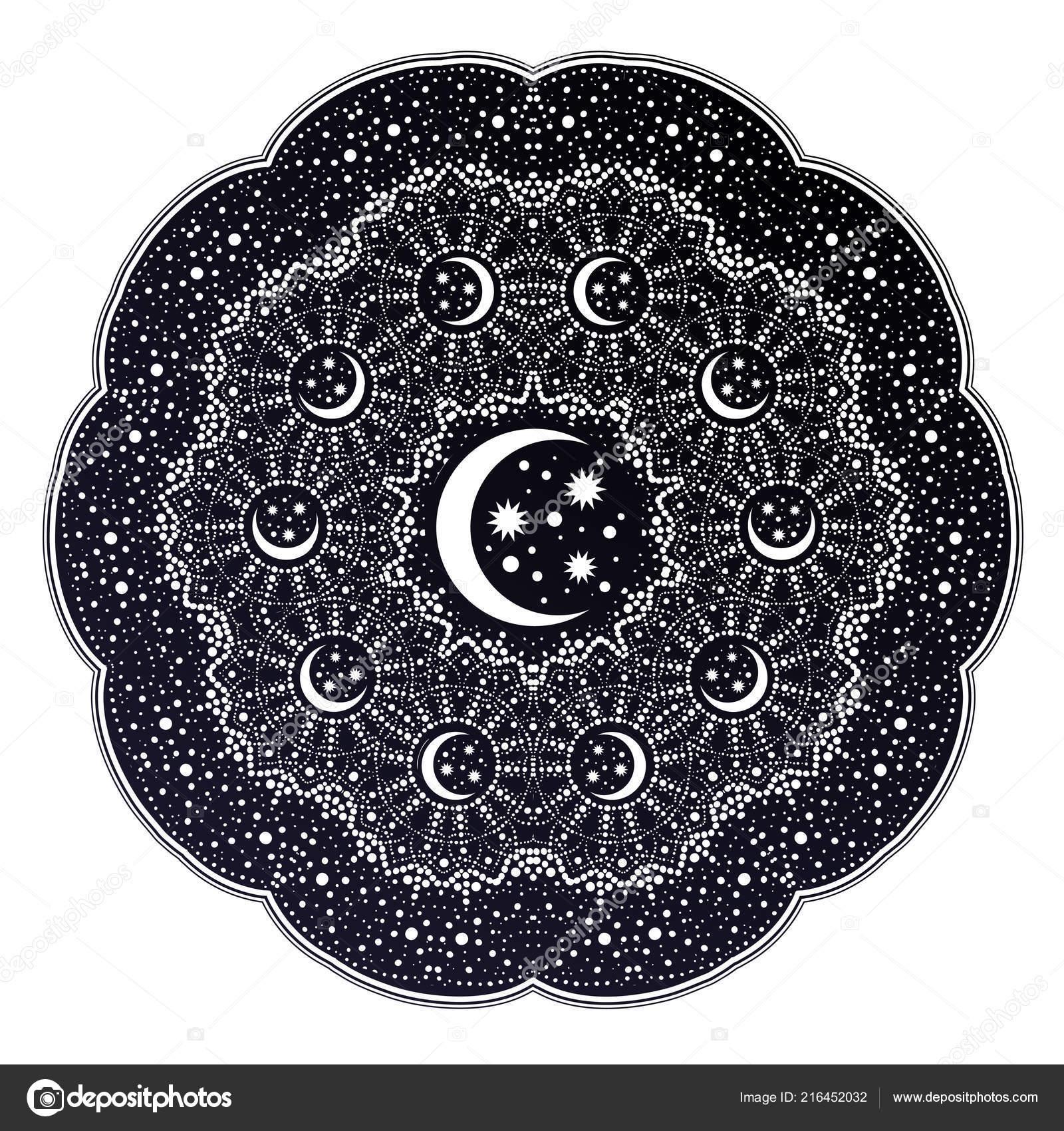 Mandala De L Espace Avec Stras Et Croissant De Lune Image