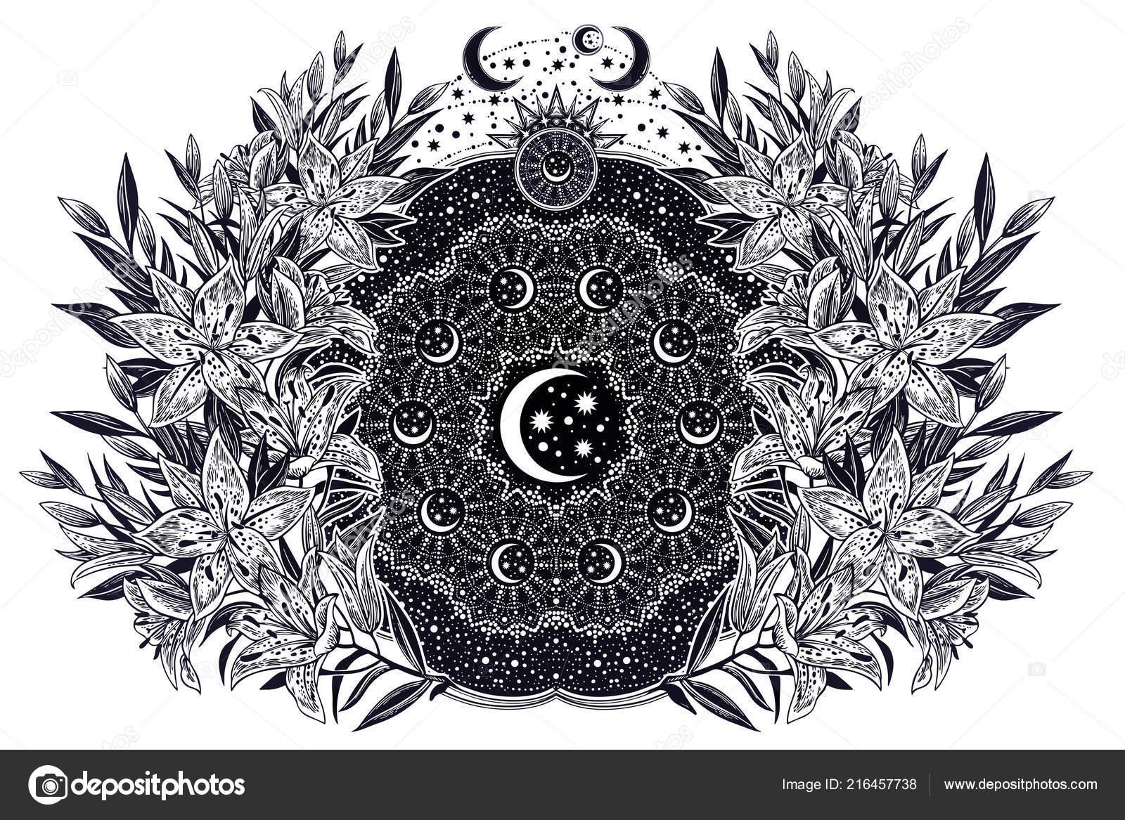 Fleur De Lys Avec Mandala Espace Avec Stras Et Lune Image