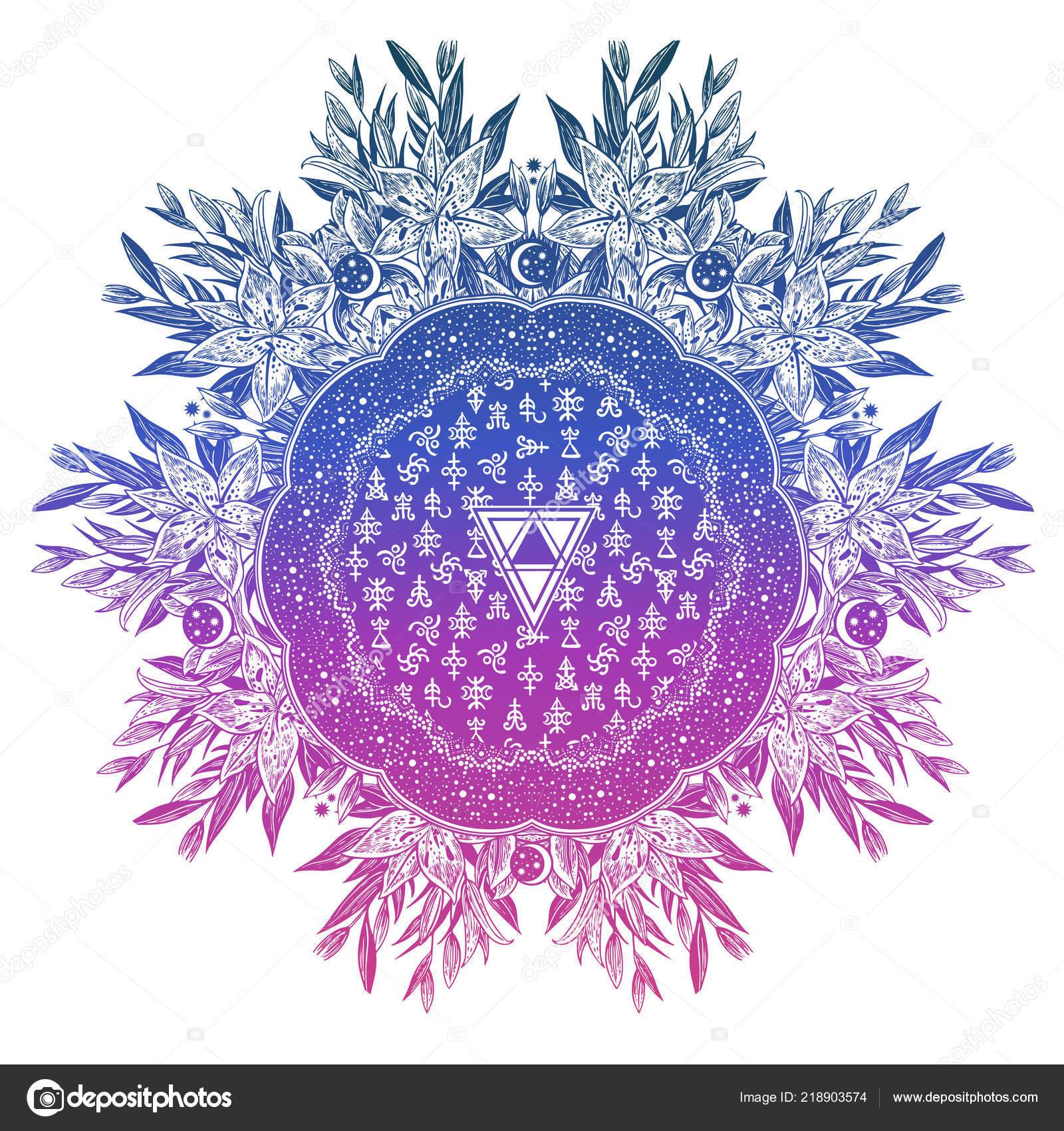 Lily Fleur Geometrique Mandala Etoiles Croissant De Lune Avec