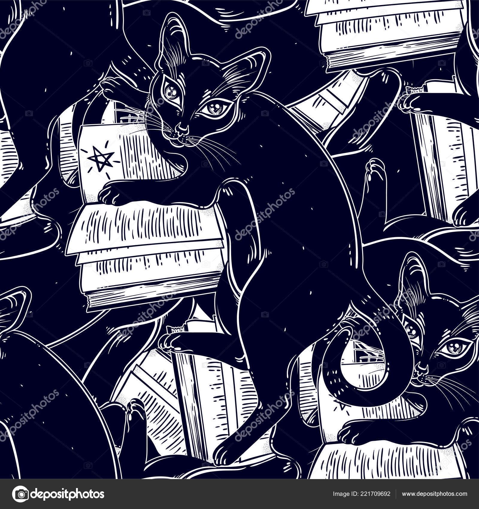Smart Black Cat Reading Magic Book Seamless Pattern Kitten