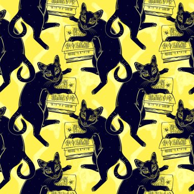 """Картина, постер, плакат, фотообои """"Смарт-черная кошка, чтение волшебную книгу бесшовный фон."""", артикул 223243310"""