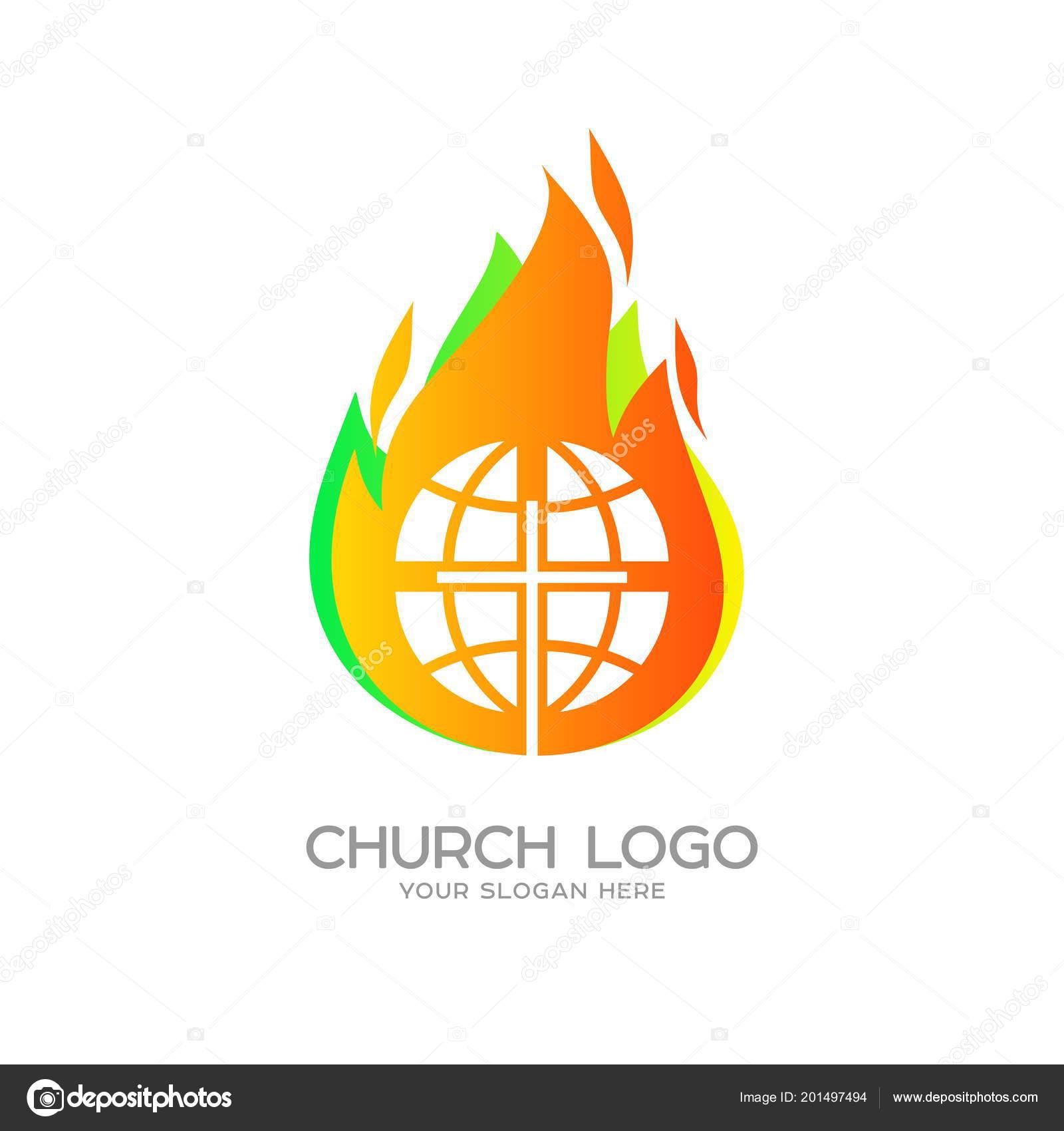 Church Logo Christian Symbols Globe Cross Jesus Christ Background