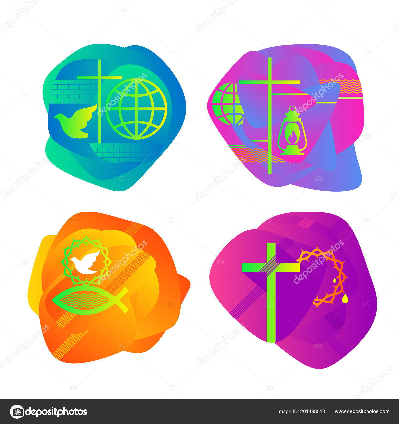 set bright colored christian logos church ministry conference camp