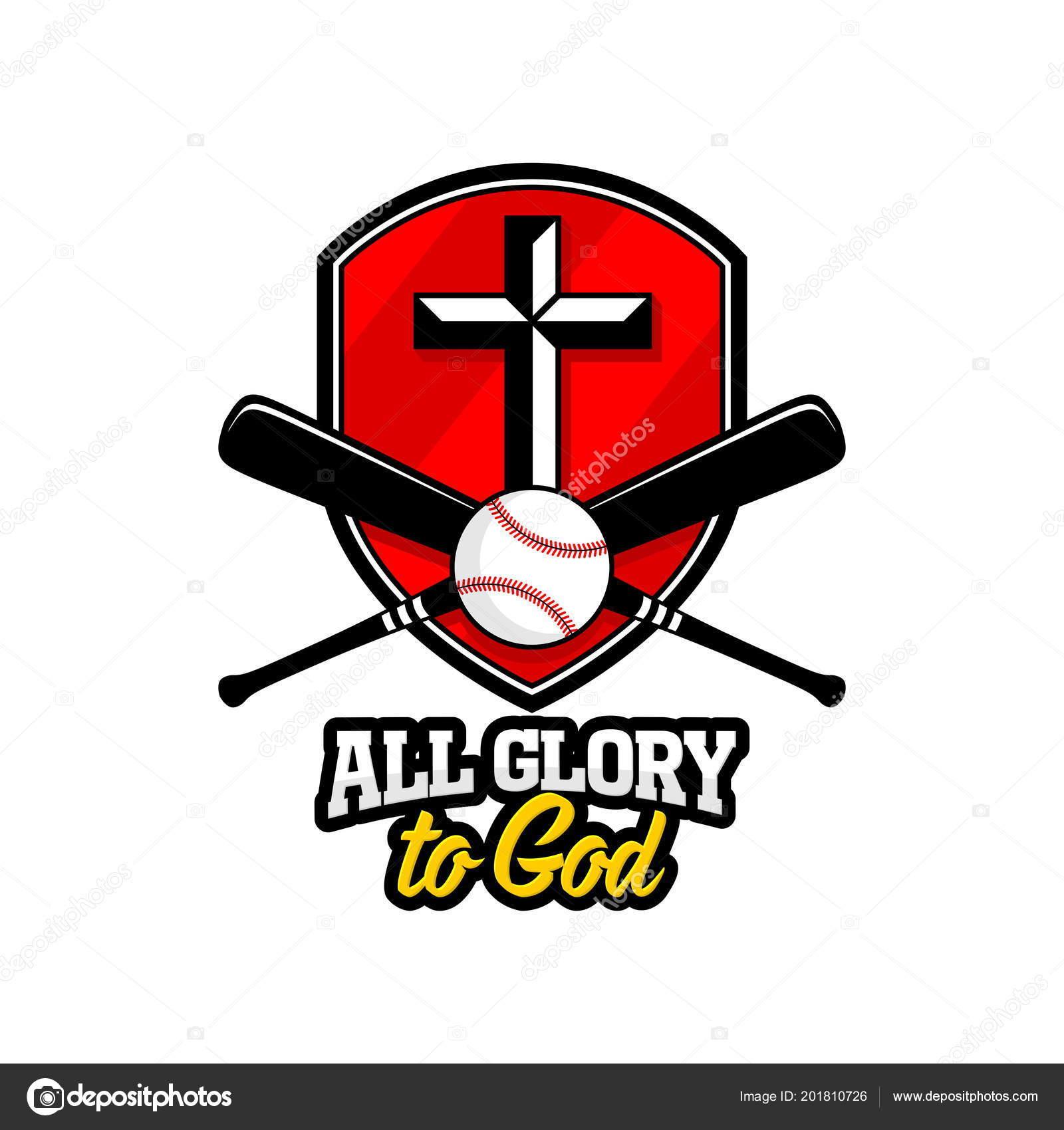 athletic christian logo golden shield cross jesus baseball bat