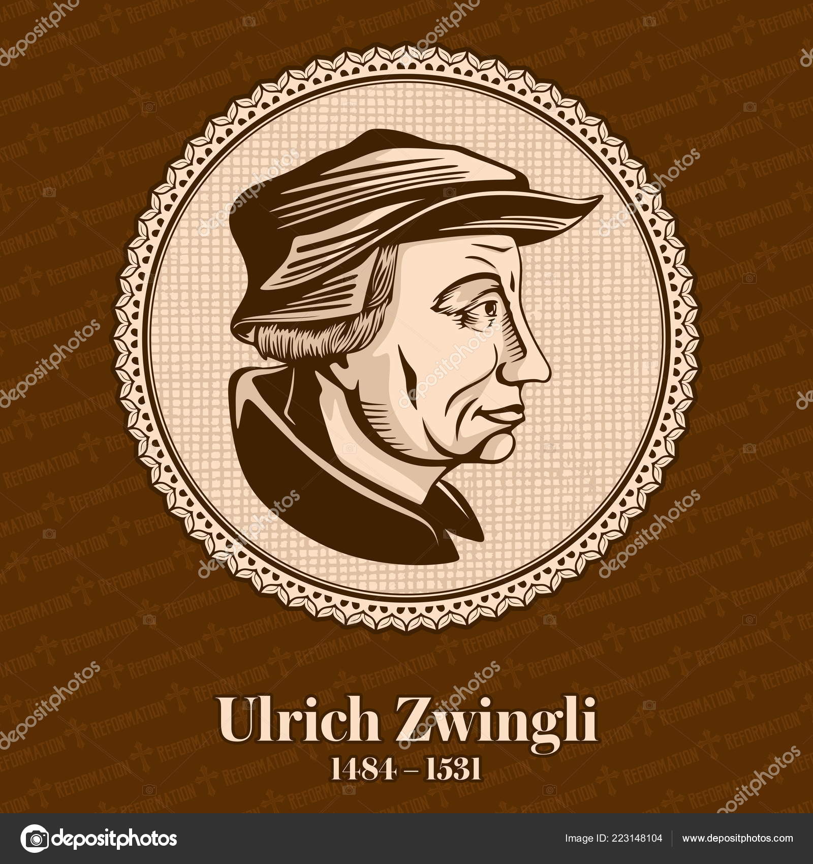 Ульриха Цвингли 1484 1531 Лидером Реформации Швейцарии Христианские Фигуры  — стоковый вектор