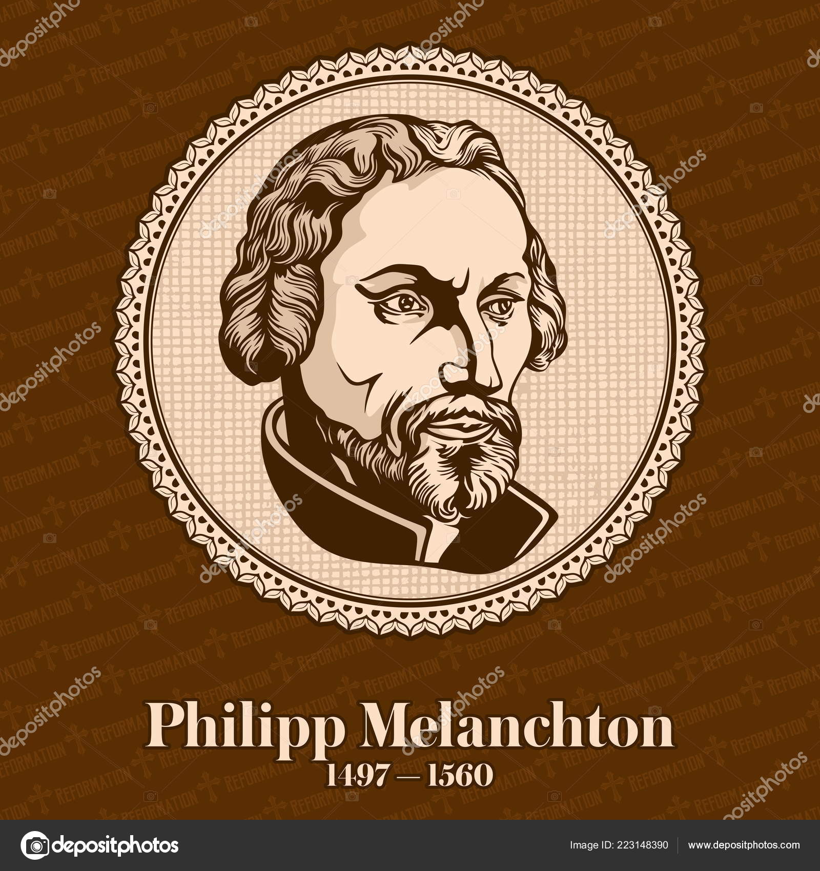 Philip Melanchthon 1497 1560 German Lutheran Reformer Collaborator Martin  Luther — Stock Vector