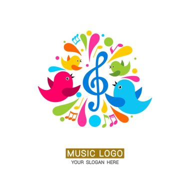 Music logo. A family of birds around a treble clef with colored elements.