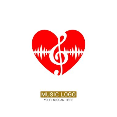 Music logo. Musical heart with treble clef.