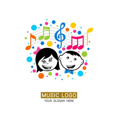 Music logo. Boy and girl on the background of a treble clef with colored elements.