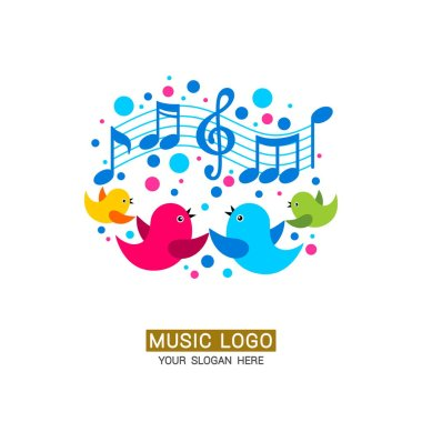 Music logo. A family of birds sings songs, musical notes and colored elements are located around.