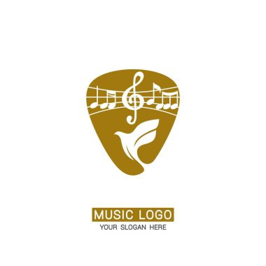 Music logo. Dove and treble clef against the background of a guitar pick.