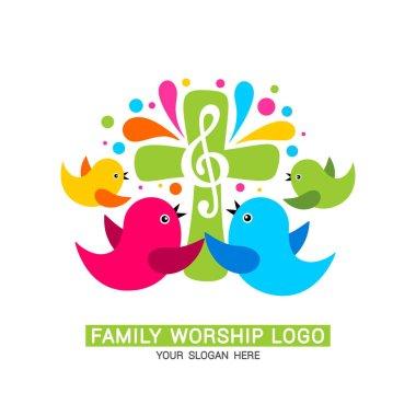 Family worship logo. The family glorifies God, sings to Him glory and praise.