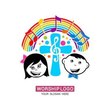 Worship logo. Children glorify God, sing glory and praise to Him.