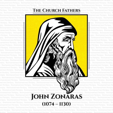 The church fathers. Joannes or John Zonaras (1074 - 1130) was a Byzantine chronicler and theologian who lived in Constantinople. Under Emperor Alexios I Komnenos he held the offices of head justice and private secretary to the emperor.