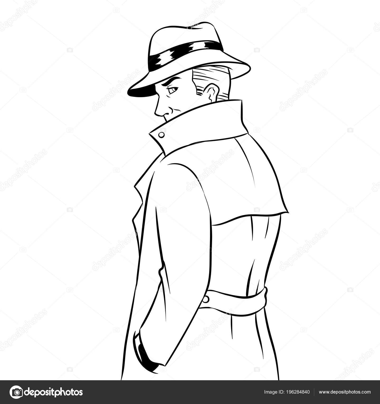 Imágenes: impermeable para colorear | Espía impermeable y sombrero