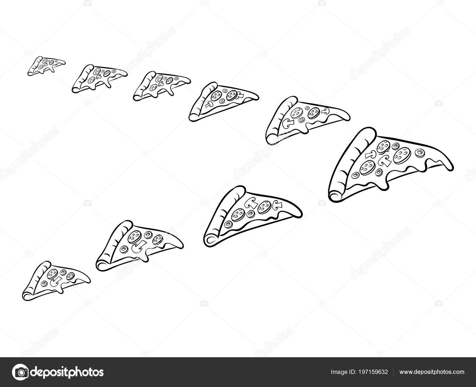 Rebanada de pizza como aves colorear ilustración vectorial — Archivo ...