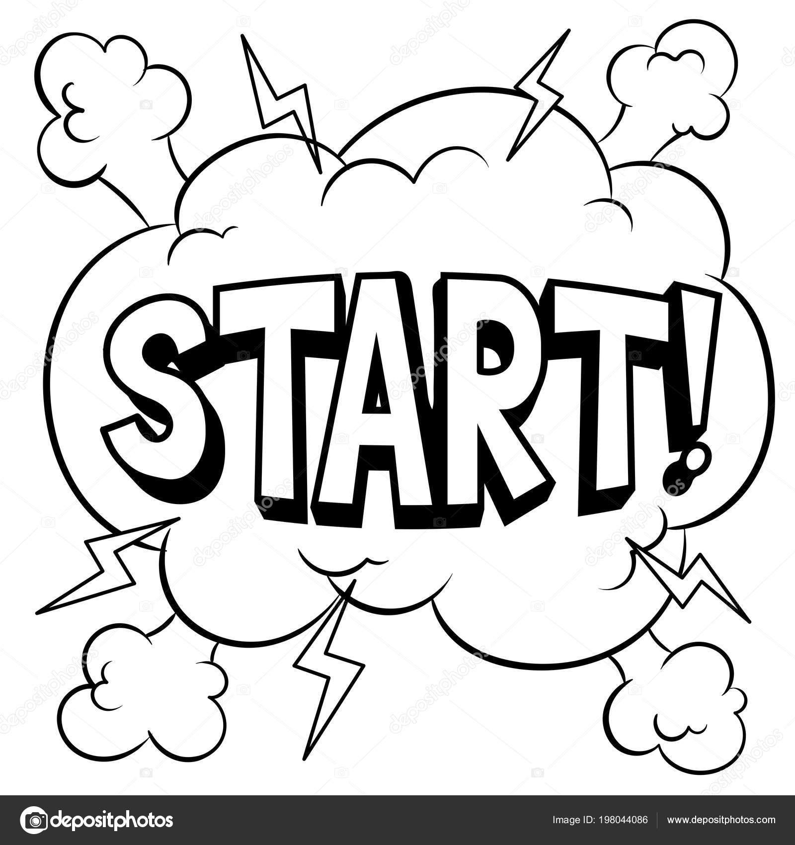 Inicio palabra cómic para colorear ilustración vectorial — Archivo ...