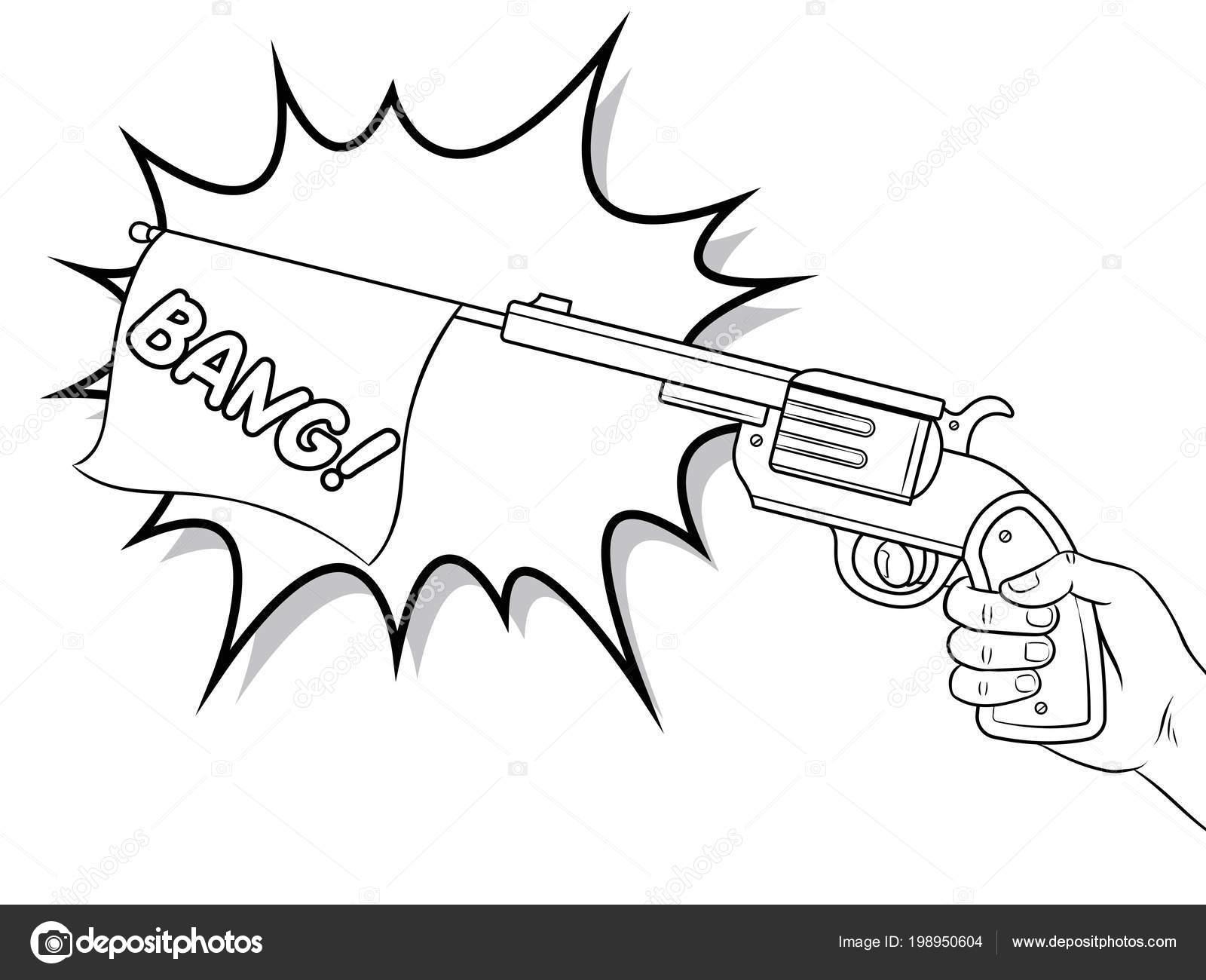 pistool met witte vlag stripboek kleurplaten vector