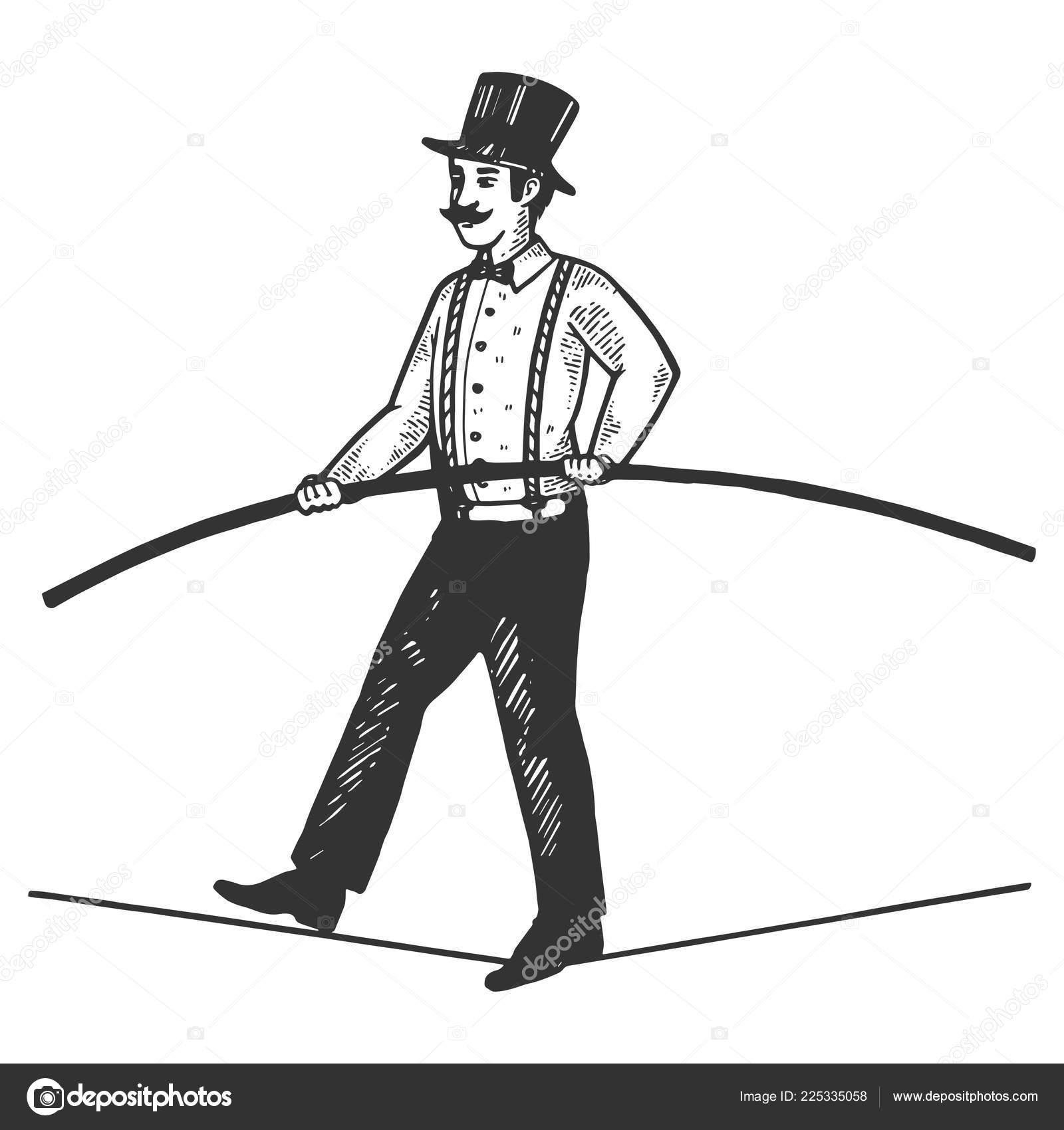 L Homme Cirque Funambule Gravure Vector Illustration