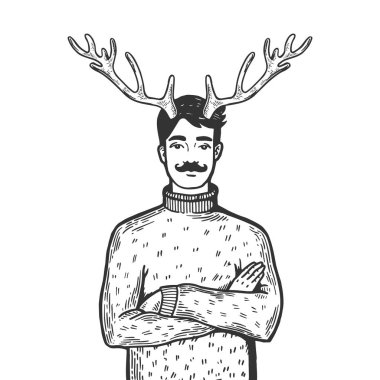 Husband with deer horns on his head engraving vector illustration. Scratch board style imitation. Black and white hand drawn image.