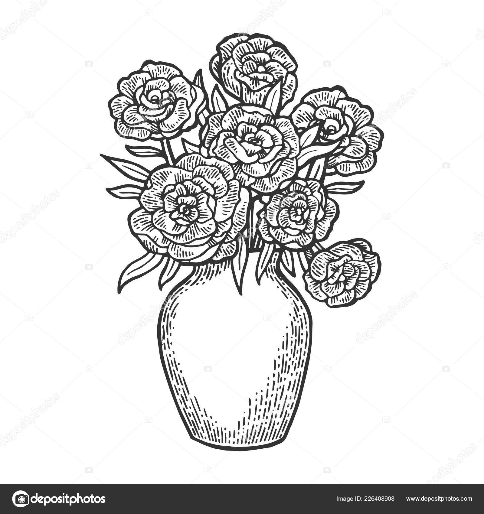 231 & Flowers in vase engraving vector illustration. Scratch board ...