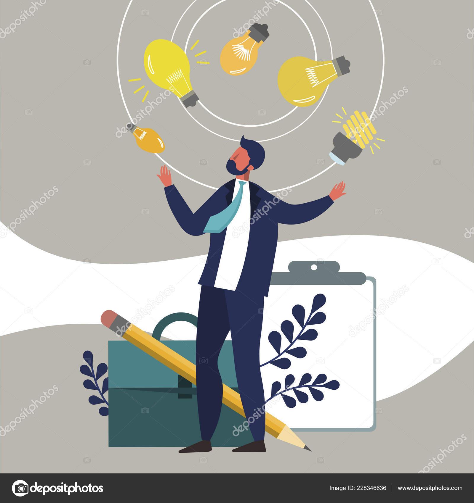 Empresário Faz Malabarismos Com Ideias Estilo Simples