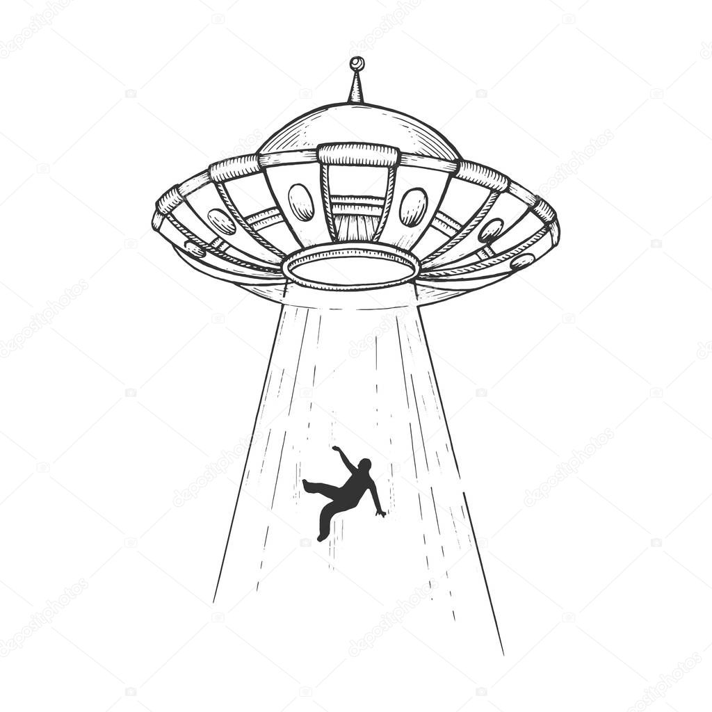 Ufo Flying Saucer Kidnaps Human Person Sketch Engraving Vector Illustration Scratch Board Style Imitation Black And White Hand Drawn Image Premium Vector In Adobe Illustrator Ai Ai Format Encapsulated