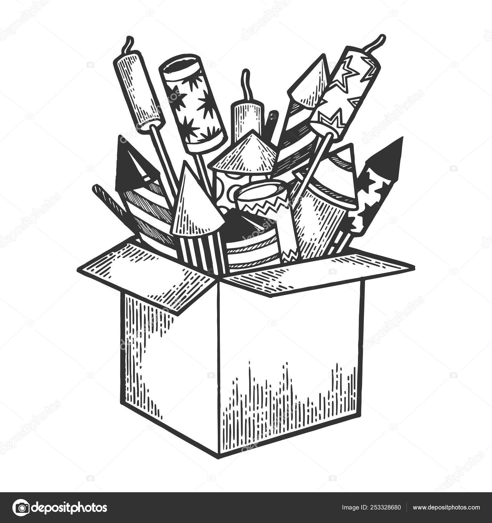 box with fireworks rockets sketch engraving vector illustration scratch board style imitation hand drawn image vector image by c alexanderpokusay vector stock 253328680