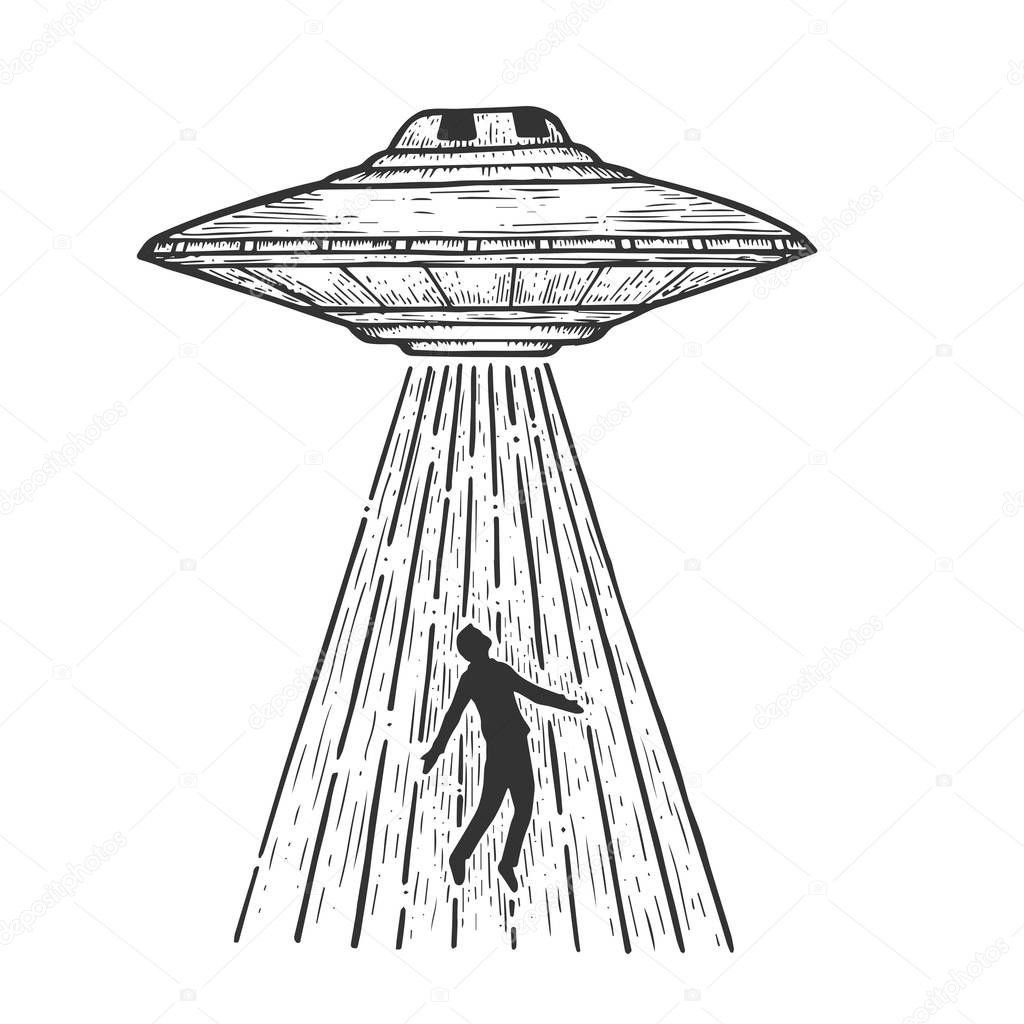 Ufo Flying Saucer Kidnaps Human Person Sketch Line Art Engraving Vector Illustration Scratch Board Style Imitation Black And White Hand Drawn Image Premium Vector In Adobe Illustrator Ai Ai