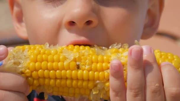 Éhes kisfiú megevett kukorica, a tengerparton a tenger. A hangsúly a főtt kukoricát. Közeli kép:.
