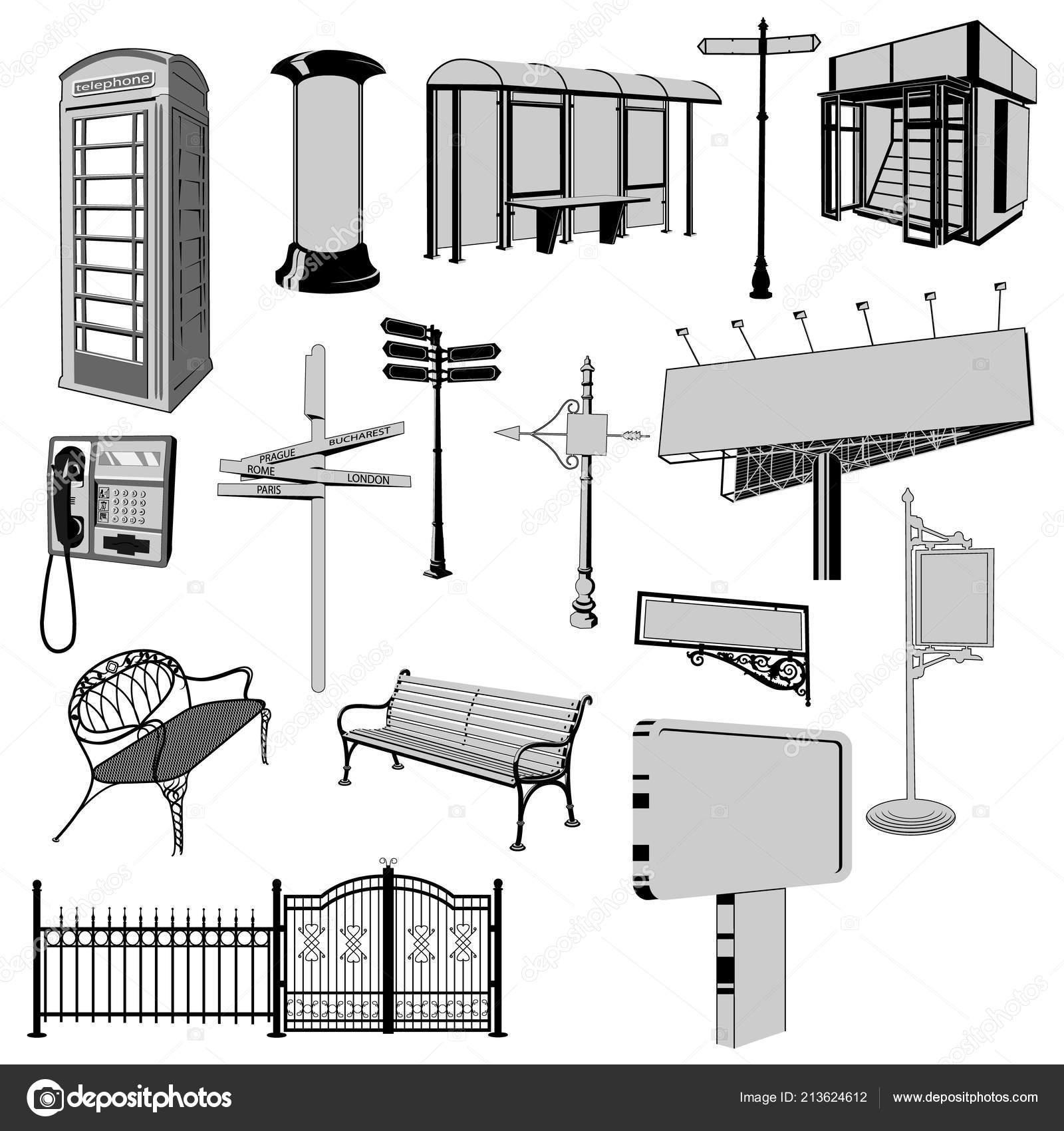 Colección Silueta Vector Mobiliario Urbano Cabina Teléfono