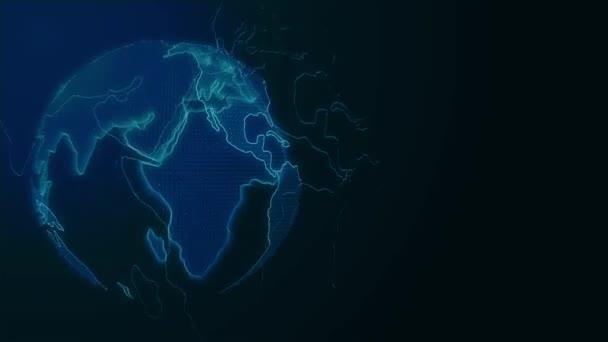 CG Blue earth záře v tmavých kamerových záznamů hnutí.