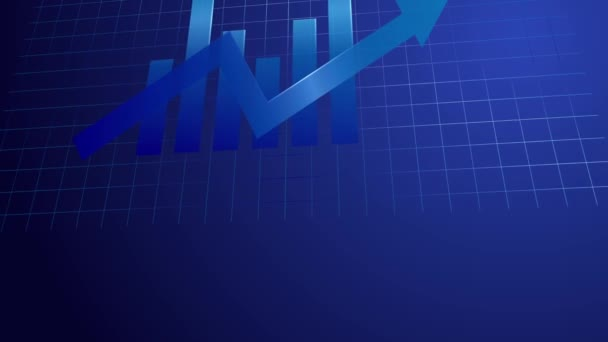 CG záběry obchodní graf modré tón pohyb kamery.