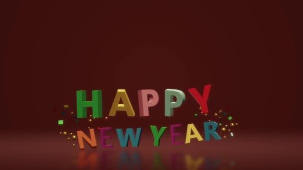 3D šťastný nový rok animace záběry hnutí.
