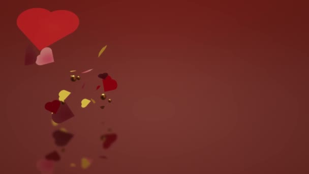 The 3d heart on red background footage love content.