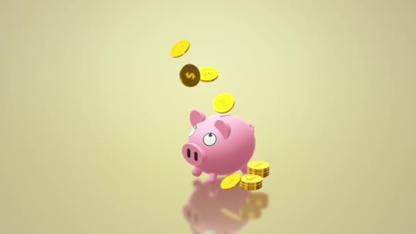 A malacka bank pénzt tartalom 3d rendering érme.