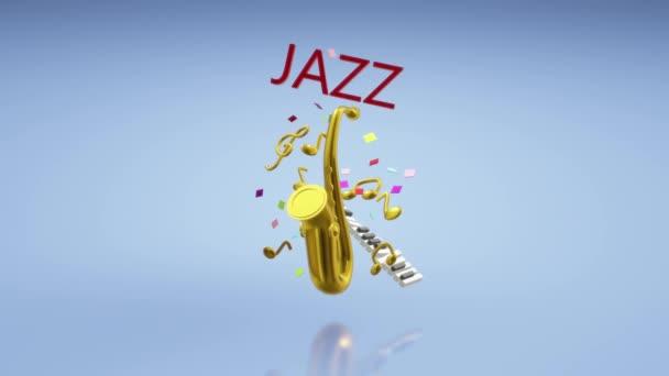A 3D-s renderelés szaxofon, jazz zenei fesztivál tartalom.