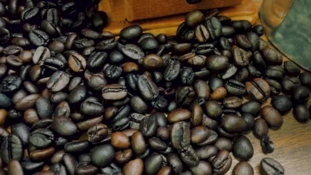 Kávové bobky záběry kamery.