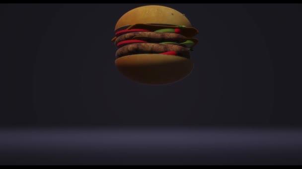 Hambergerský rychlík pro potravinářský koncept 3D vykreslování.