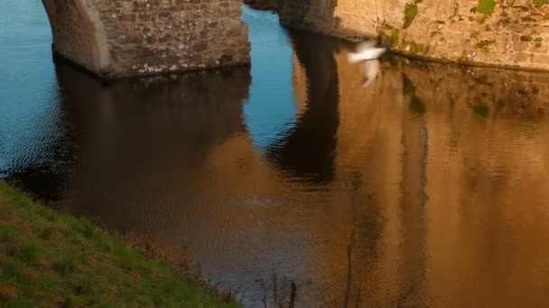 Maidstone, circa 2019 - colpo del primo piano di un vecchio ponte e il fossato del castello medievale di Leeds nel Kent, Inghilterra, Regno Unito. Il castello fu costruito nel 1086