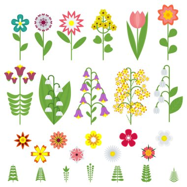 "Картина, постер, плакат, фотообои ""flat color flower set"", артикул 197395036"