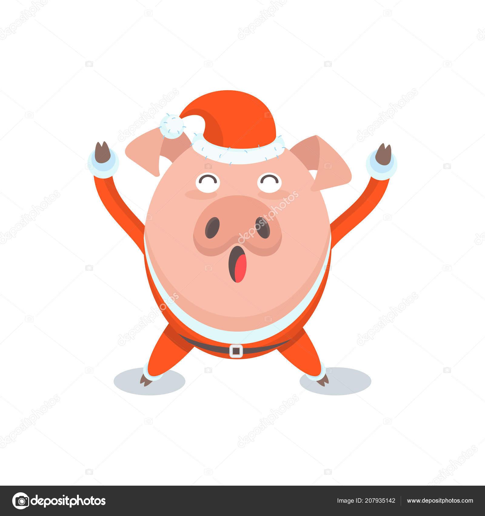 Funny merry pig in Santa Claus costume, — Stock Vector © quarta ...