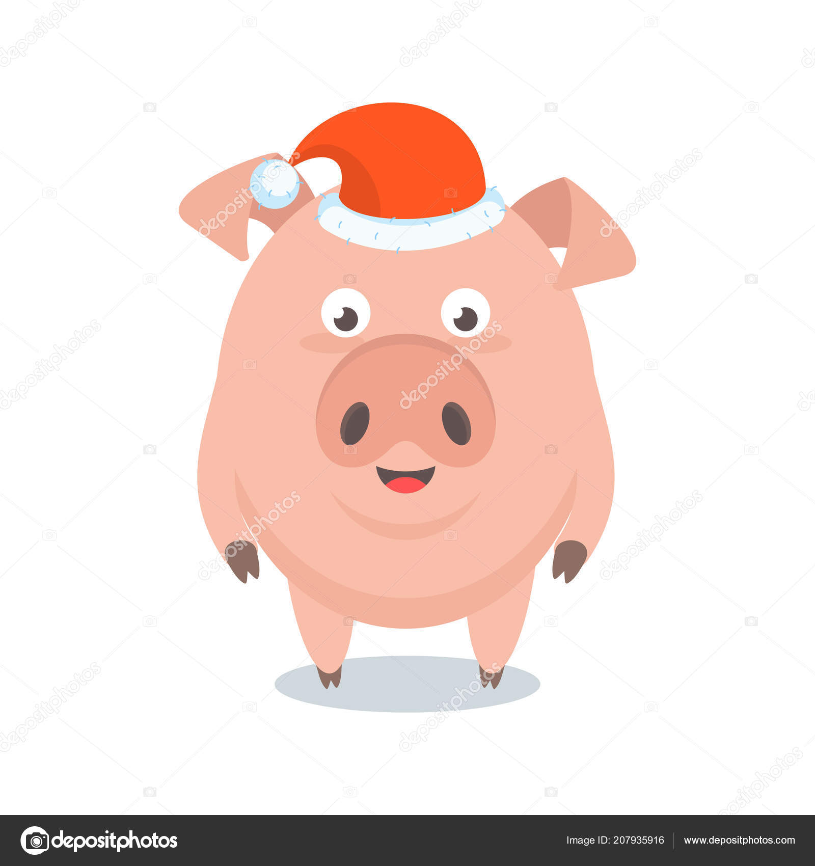 Funny merry pig in Santa Claus hat — Stock Vector © quarta #207935916