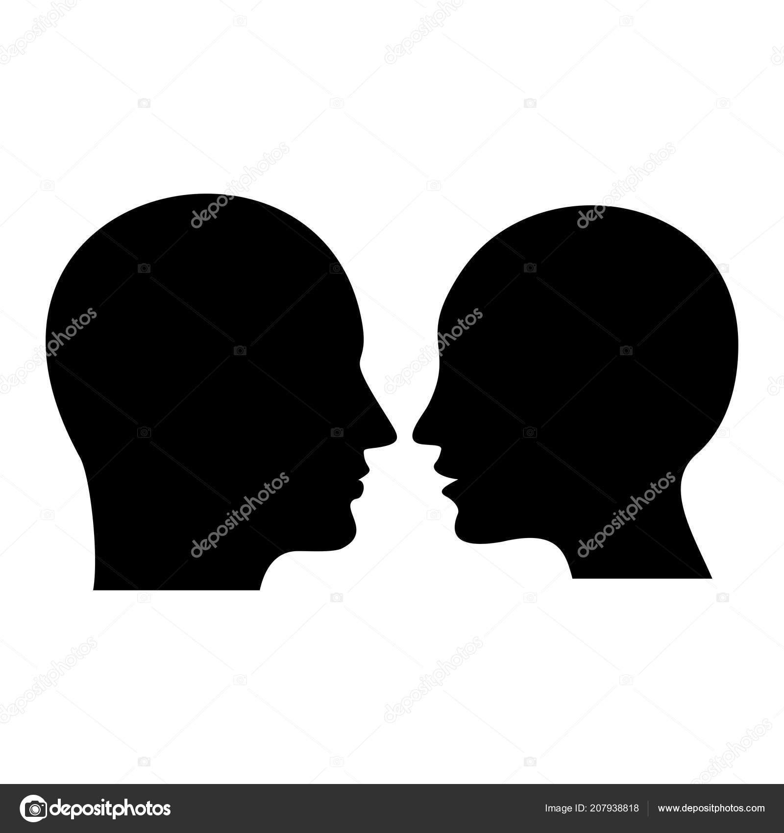 Profil Humain Silhouette Noire Tete Homme Femme Illustration Plat