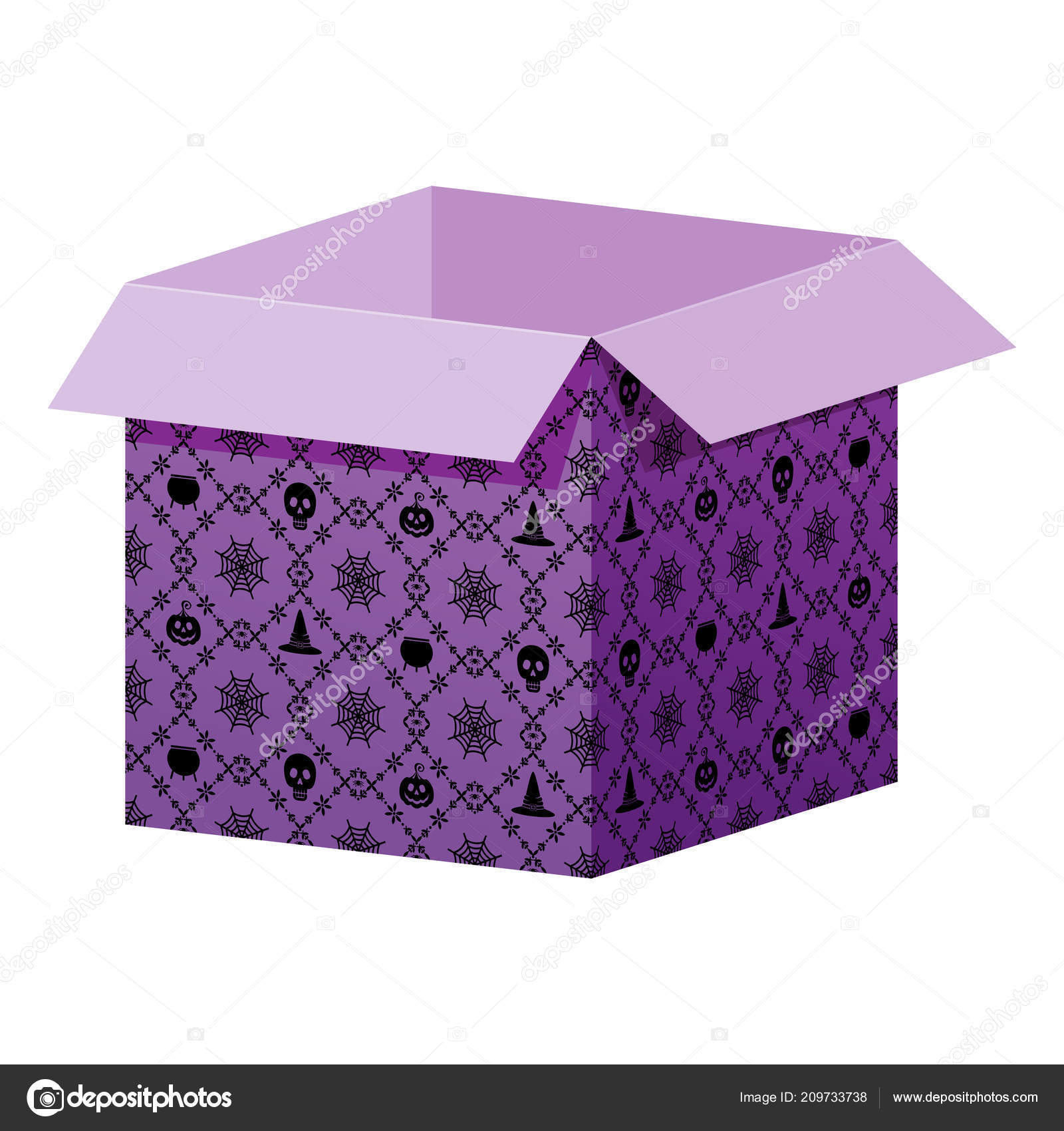 Big Open Box Template With Halloween Pattern Stock Vector