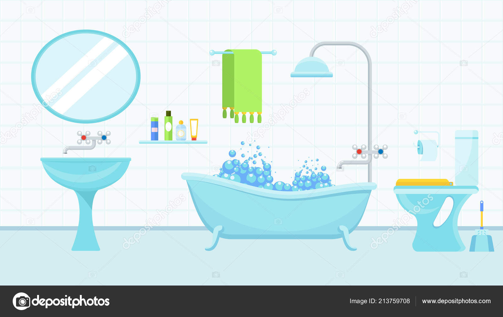 Interior Of Bathroom With A Toilet And Accessories For Washing Stock Vector C Quarta 213759708