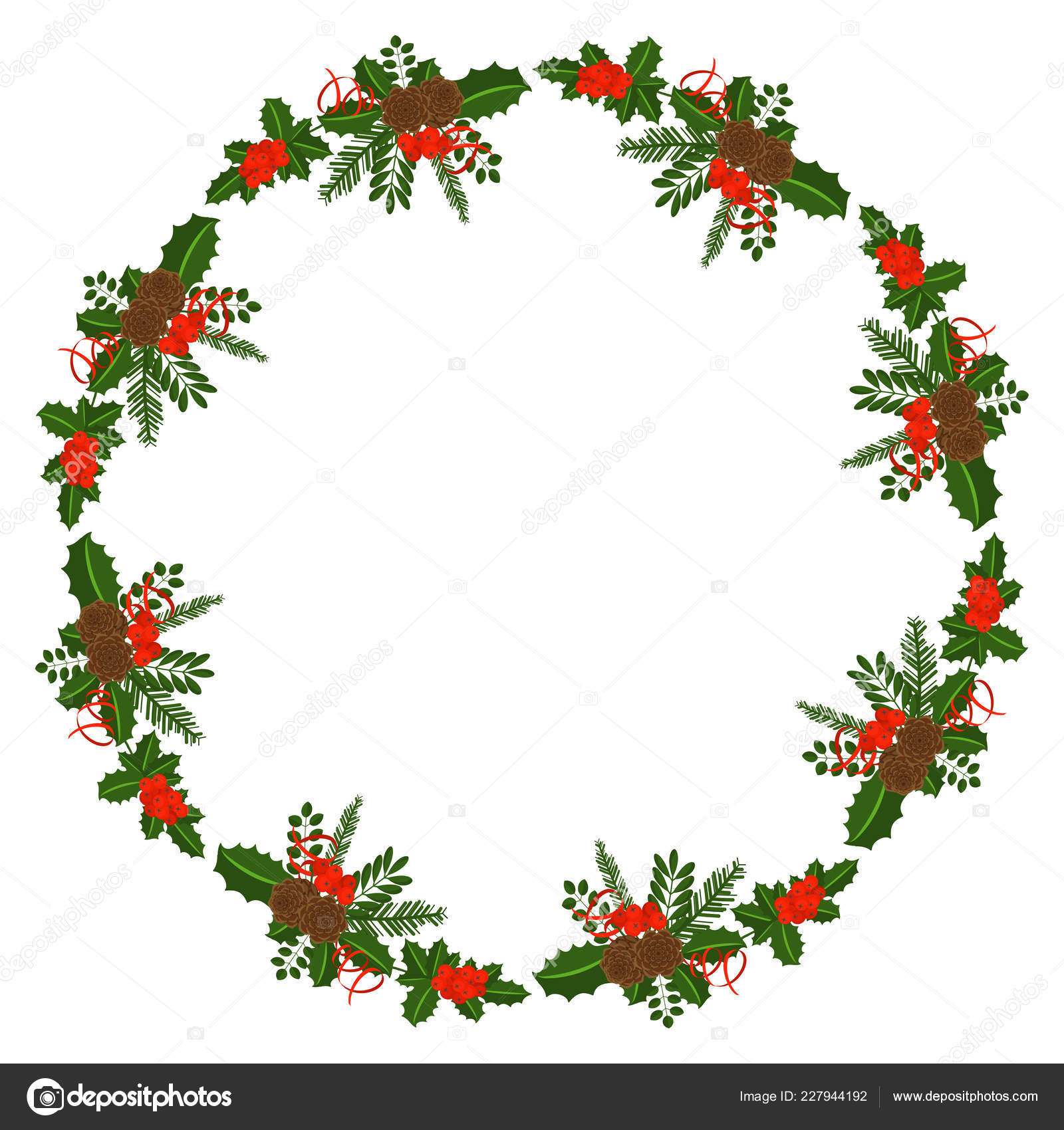 Christmas Card Border.Holly Berry Round Border For Christmas Cards Stock Vector