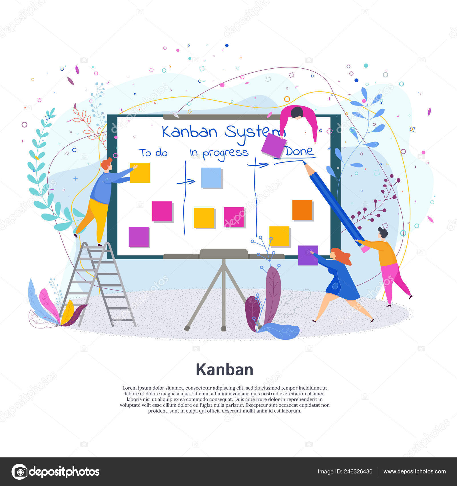 Tiny people with Kanban Project Management System — Stock Vector