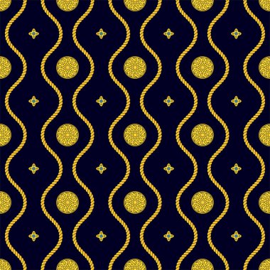 Seamless vector pattern with chains, straps and ropes